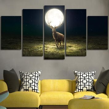 Deer In Full Moon Night Wall Art Canvas
