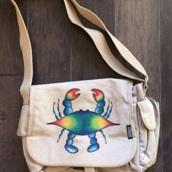 Hand Painted Blue Crab Canvas Messenger Bag