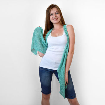 FREE SHIPPING Turquoise knit vest Knit long vest Light summer wear Aqua blue vest. Cyan