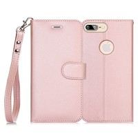 iPhone 7 Plus Case, iPhone 8 Plus Case, FYY [RFID Blocking wallet] 100% Handmade iPhone 7 Plus/8 plus Wallet Case Stand Cover With Credit Card Protector Rose Gold