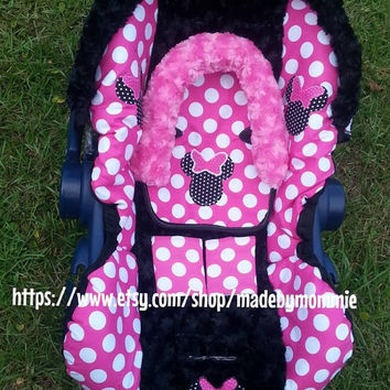 Minnie Mouse Infant Car Seat Cover Canopy Headrest And Strap Covers