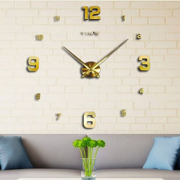 Fashion Large DIY Modern Wall Clock Home Decor 3D Mirrors Sticker Cool Big Timer Art Watch Silver