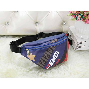 FENDI Popular Woman Men Leather Waist Bag Sport Single Shoulder Bag Crossbody Satchel Blue