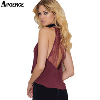 APOENGE Sexy Backless Ladies Tank Tops Chiffon Camis Woman Summer Lace Crochet Halter Top 2017 Sleeveless Chiffon T Shirts QN238