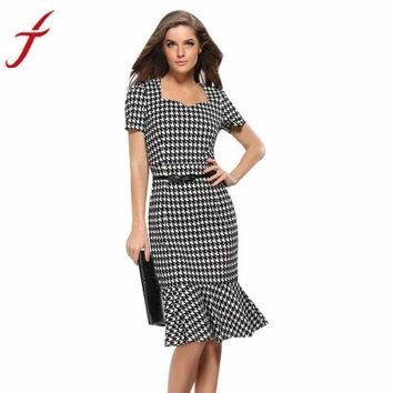 2018 Newest Womens Elegant Plaid Bodycon Work Cocktail Party Celebrated office Pencil Dress Summer Sundresses