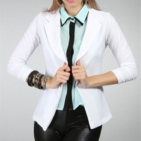 White 3/4 Sleeve Blazer