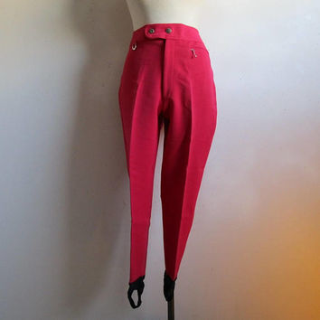 Vintage Schoeller Ski Pants Cobor 1980s Red-Pink Winter Stretch 80s Womens Snow Stirrups Trouser Made in Italy 14