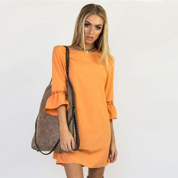 Women Dress Casual O-Neck Mini Dress Female Lace Dresses Flare Sleeve Lace Hollow Out Dress Vestidos 2018 New Candy Color