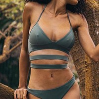 Sexy pure color bandage hollow two piece bikini swimsuit grey