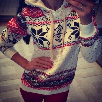 Christmas Hoodie Womens Winter Sweater Sweatshirts White New Look