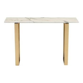 ZUO Modern Atlas Console Table Stone & Gold 100654 Living Coffee/Side/Consoles