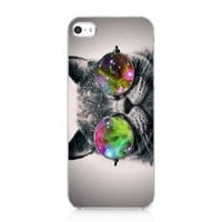 Galaxy Hipster Cat Case Hard Cover For iPhone 5 5s 2013 New
