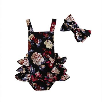 Newborn Infant Baby Girl Lace Floral Tutu Romper Backless Jumpsuit + Headband Summer Clothes