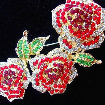 Three Roses Rhinestone Pave' Brooch, Cherry Red, Green Leaves, Vintage