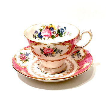 Royal Albert Tea Cup, Lady Carlyle, Pink Floral, Vintage 1960s, English Bone China, Gold Trim, Porcelain Tea Cup and Saucer, Collectible