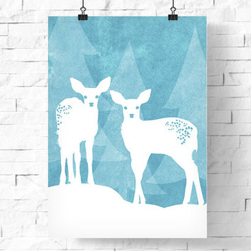 Printable Christmas Poster | White Baby Reindeer In Snowy Woods | Holiday Poster | Instant Download | Holiday Decor | 8x10 & 5x7 | Wall Art