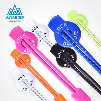 AONIJIE 120cm Sports Reflective Shoelaces Running Hiking Visible lazy Safty Lock Laces Round Elastic Shoestrings With Buckle