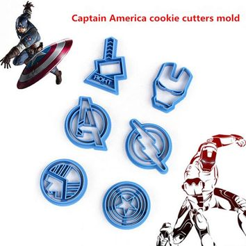 6pcs/set The Avengers Alliance Super Hero Cookie Cutter Sugar Mold Superheroes Biscuit Cake Sugarcraft Avengers Cookie Cutters