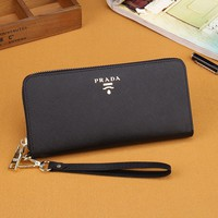 Black PRADA Wallet Leather Clutch Bag