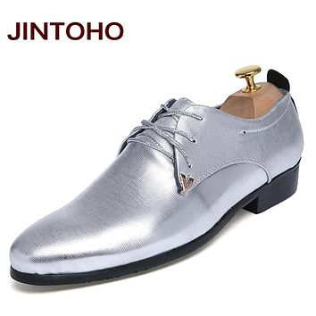 Casual Men's Flats Glitter Pointed Toe Men Leather Shoes Fashion Designers Shoes