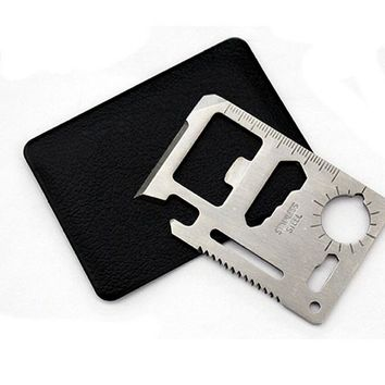 On Sale Multi Outdoor Camping 11 Functions in 1 Survival Card Knife Multifunction Card Tool Pocket Saber Card with Black Holster