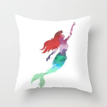 Ariel Little Mermaid Throw Pillow by Xiari