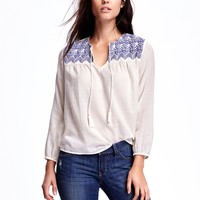 Embroidered Swing Blouse for Women   Old Navy