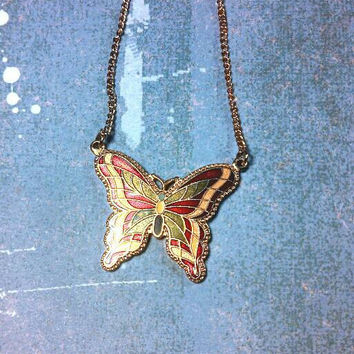 Butterfly red yellow green gold tone chain necklace. Sarah Coventry. Enameled bright colors.