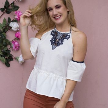 Halter Cold Shoulder Top