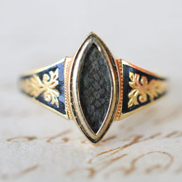 1800's Antique Victorian mourning hair ring / Marquise hair compartment / Black enamel and foliate