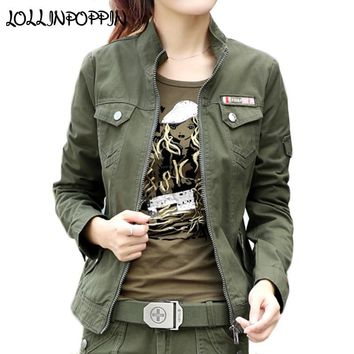 Trendy Women Military Style Cargo Jacket Army Green Jackets Stand Collar 100% Cotton Army Jacket 2018 Spring Ladies Casual  Jacket AT_94_13