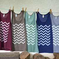Tank Top  Dark Blue with White Chevron by littleminnowdesigns