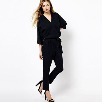 DCCKIX3 Chiffon Stylish Three-quarter Sleeve V-neck Jumpsuit for Fall and Winter [9022452740]