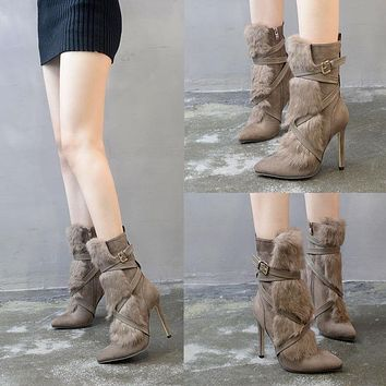 Boots Pointed Toe Rabbit Fur [120849825817]