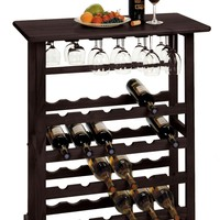 Vinny Wine Rack, 24-Bottle with Glass Hanger