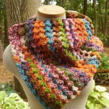 Button Up Cowl in Carnival by MegansMenagerie on Etsy