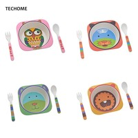 Cute Cartoon Animal Baby Dishes Set Melamine Bowl Fork Spoon Bamboo Tableware Kids Set Girls Boys Plate Infant Feeding Dishes