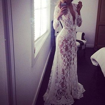 New 4XL 2017 Spring Dress Plus Size V-Neck Women Long Dress Robe Casual Sexy Maxi Dress Wedding Lace Dress Embroidery Vestidos