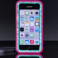 OtterBox Defender Series Case for iPhone 5c - Custom Glitter Case for iPhone 5c - Pink/Wintermint