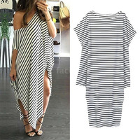 New Women Loose Long Dress Striped Batwing Sleeve Off-shoulder Split Asymmetric Casual Maxi Plus Size Dress White = 5737701185