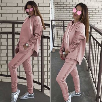 InstaHot Hooded Hoodies 2 Piece Set Women Autumn Winter Tracksuit Pockets Zipper Drawstring Side Leather Top+Pant New Fashion