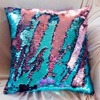 ON SALE Mermaid Pillow STUFFED 25+ Colors Many Sizes Decorative Sequin, Two Toned, Color Changing, Write on Pillow, Fancy Shiny Throw Pillow