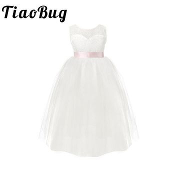 TiaoBug Kids Girls White Backless Flower Girl Dresses Birthday Party Princess Dress Tulle Pageant Dress 2-12