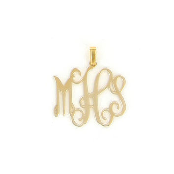 Floating Gold Plated Monogram Necklace - Small