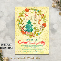 Christmas Party Invitation Template - Printable Holly Wreath - Holiday Party Card - Christmas Card - Editable Template - Watercolor Gold DIY
