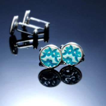 "Turquoise cufflinks 15mm 0.6"" Turquoise ceramic cufflinks, silver plated findings. Distinctive elegant turquoise accessory for men suit male"