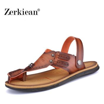 Youth Leisure Ankle-Wrap Shoes Outdoor Casual Ankle-Wrap Summer Breathable Men's Beach Shoes Flip Flops Male Casual Slippers