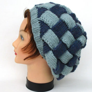 Knit Slouchy Beanie - Entrelac Hat In Blue Mist And Sea Spray - Blue And Green Hat - Warm Headwear - Women's Accessories