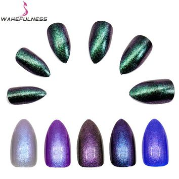 12Pcs/Pack Full Cover Stiletto False Nails ABS Fake Nail Tips Shiny Colorful Glitter Nail Art Tools Artificial Fingernails
