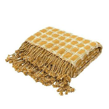 Ben and Jonah Soft Hand Geometric Pattern Cotton Throw Blanket with Long Fringes